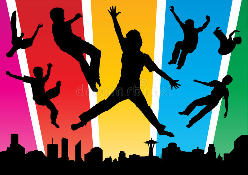 Download Boys Jumping In The Funky City Stock Photos - Image: 16041453