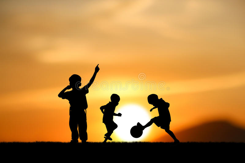 Boys jumping stock image