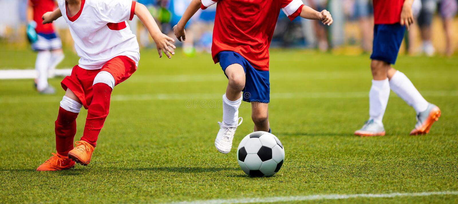 Boys Kicking Soccer Match on Grass. Youth Football Game. ChildreBoys Kicking Soccer Match on Grass. Youth Football Game. Children. Boys Kicking Soccer Match on royalty free stock photo