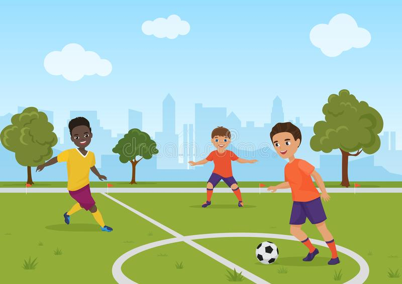 Boys kids playing soccer football. Vector illustration. Boys kids playing soccer football. Vector illustration stock illustration