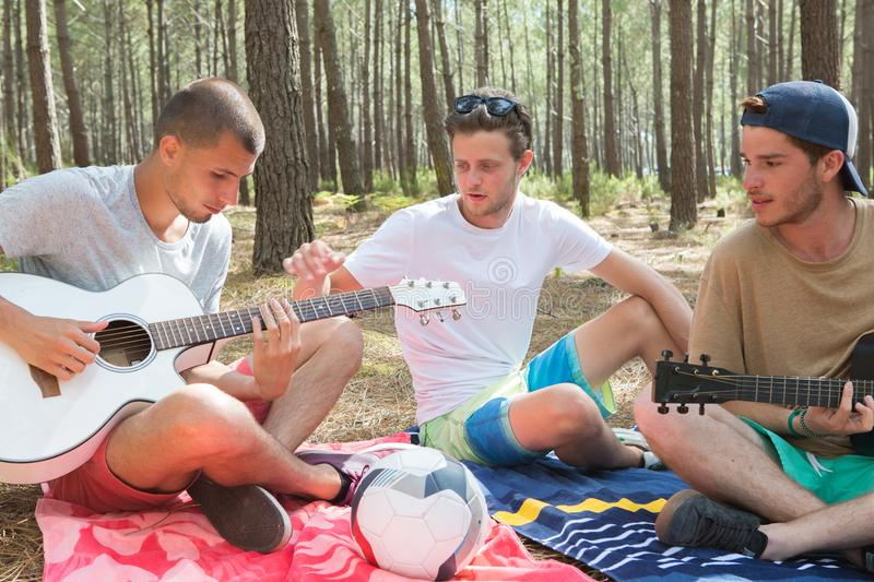 Boys lying on grass and playing guitar royalty free stock photo