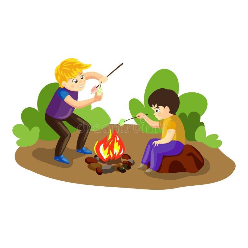 Boys make marshmallow on fire concept background, cartoon style vector illustration