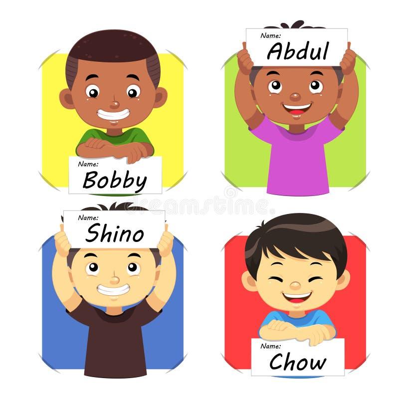 Boys Name 2. Boys holding their name tag stock illustration