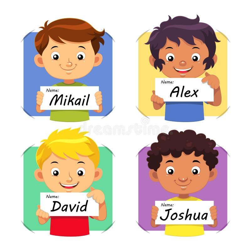Boys Name 1. Boys holding their name tag vector illustration