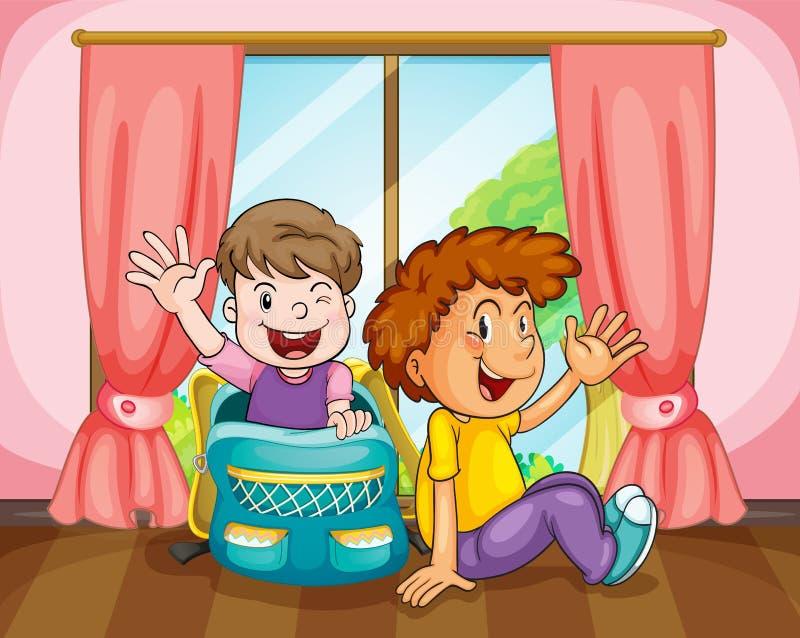 Download Boys near window stock vector. Image of hair, children - 26352234