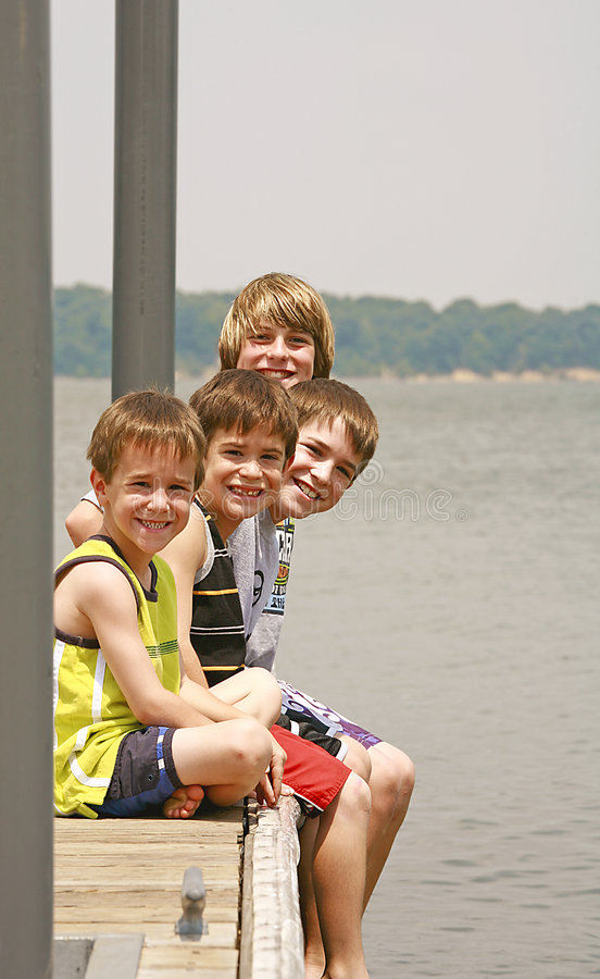Free Boys On The Dock Royalty Free Stock Images - 2931059