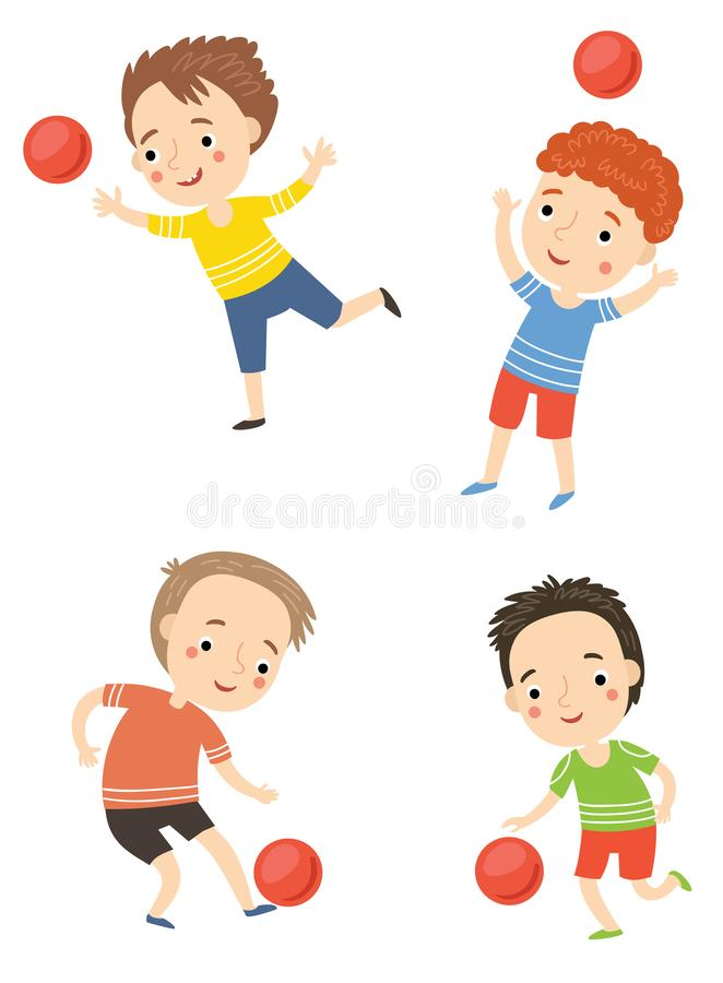 Free Boys Play Ball Vector Illustration Stock Photography - 158254552