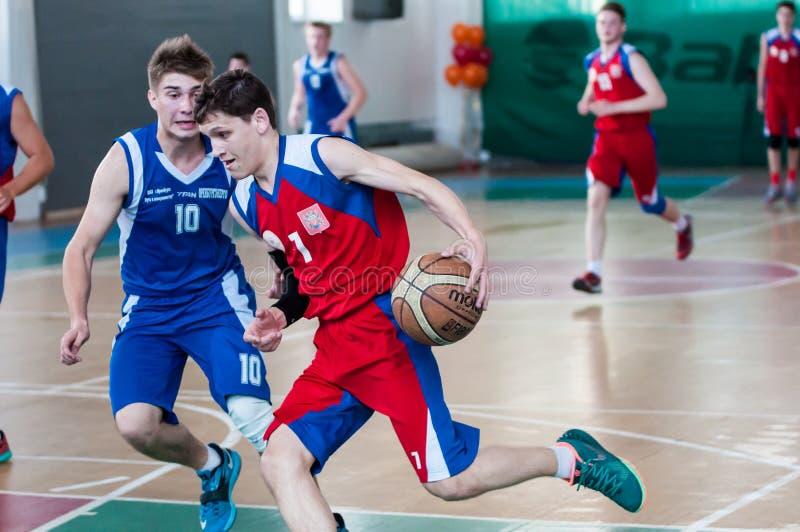 Boys play basketball, Orenburg, Russia royalty free stock images