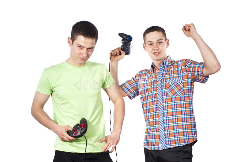 Download Boys Play Computer Games Insulated Stock Photo - Image: 25061208