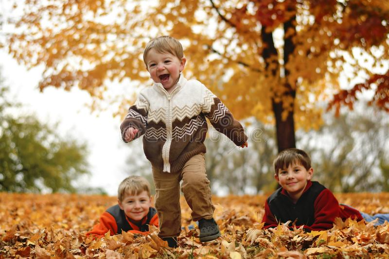 Boys playing in the Autumn leaves stock image