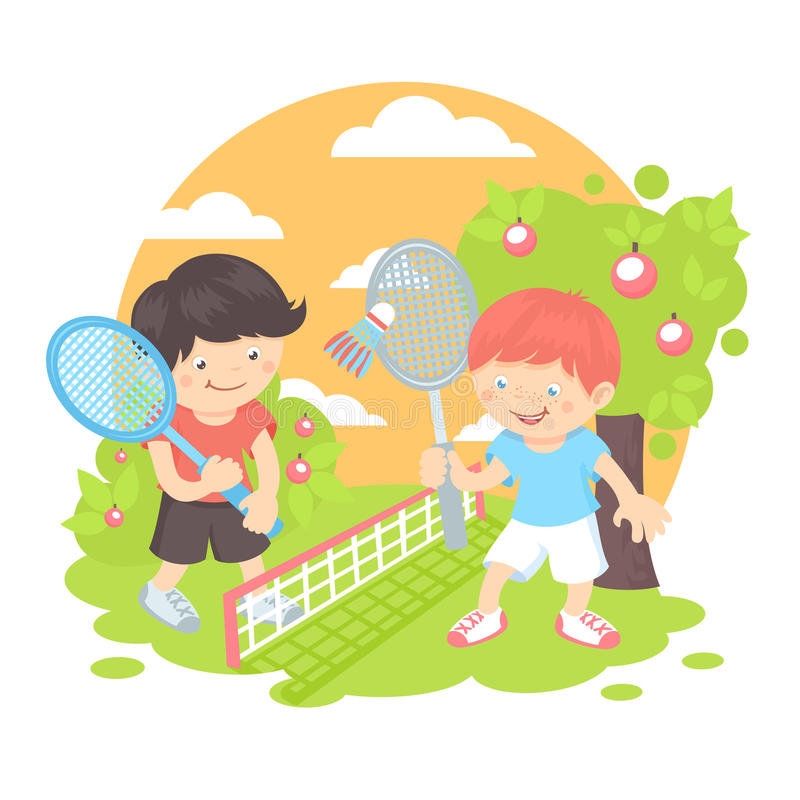 Boys playing badminton stock illustration