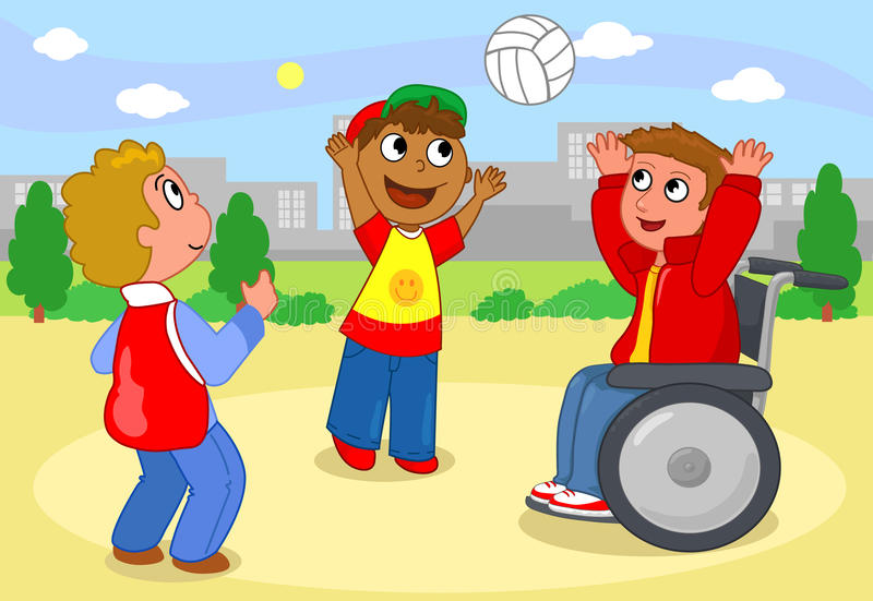 Boys Playing With Ball Vector Stock Images