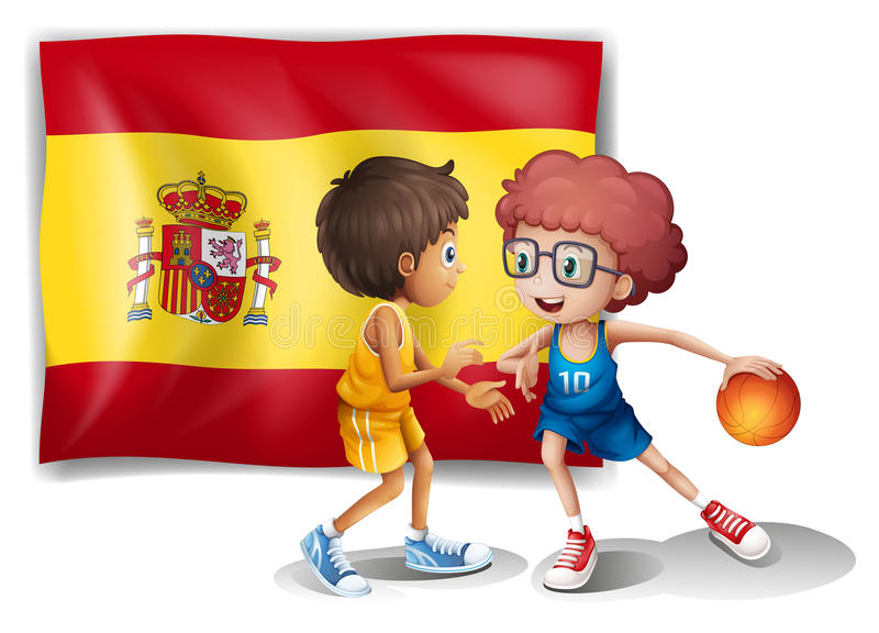 Boys playing basketball with the flag of Spain stock illustration