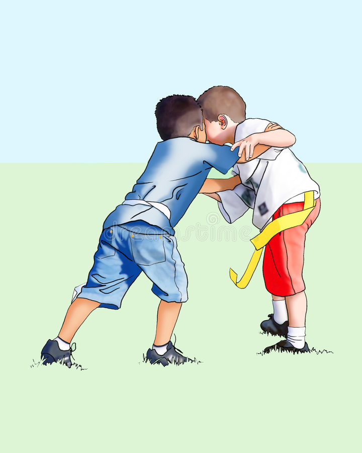 Boys playing football. Two boys playing flag football stock illustration