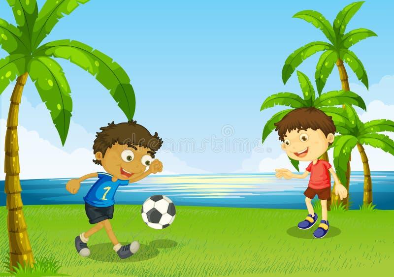 Boys playing football at the riverbank. Illustration of the boys playing football at the riverbank stock illustration