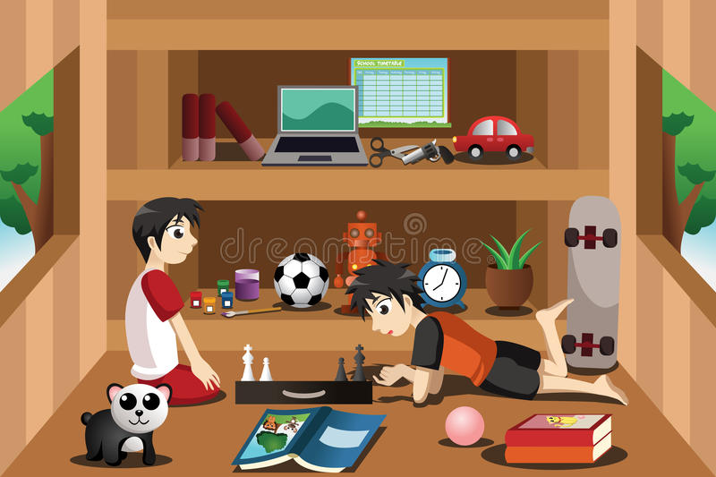 Boys playing inside a tree house vector illustration
