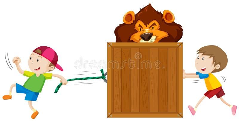 Boys pulling and pushing box of tiger vector illustration