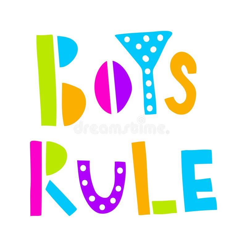 Boys rule neon. Vector illustration, bright neon boys rule hand lettering text on isolated background royalty free illustration