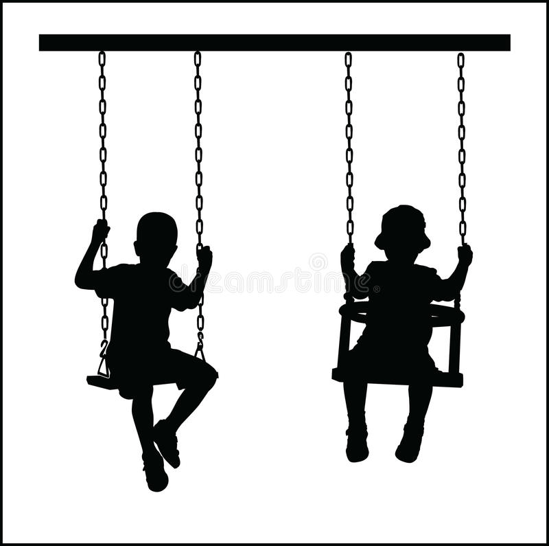 Download Boys on a seesaw stock vector. Image of silhouette, father - 35214125