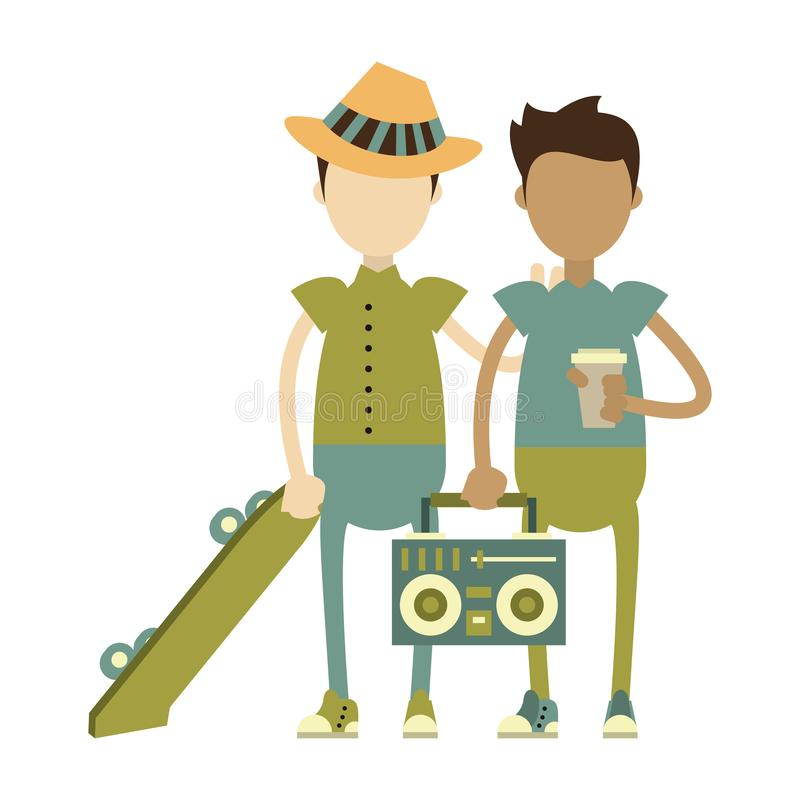 Boys with skateboard and stereo. And coffee cup isolated symbol Vector design illustration vector illustration