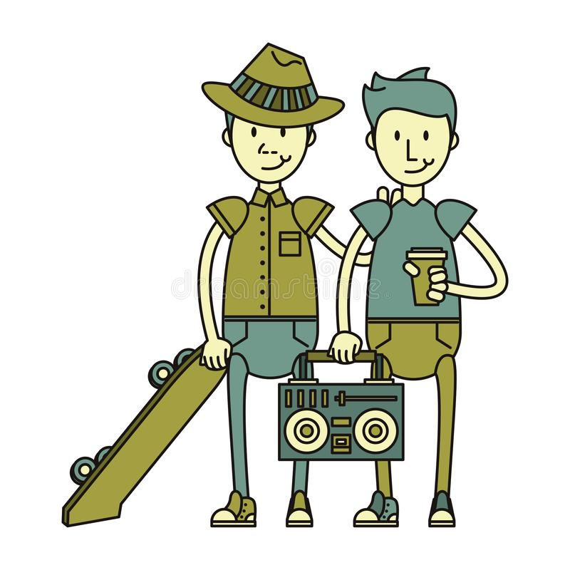 Boys with skateboard and stereo. And coffee cup isolated symbol Vector design illustration royalty free illustration