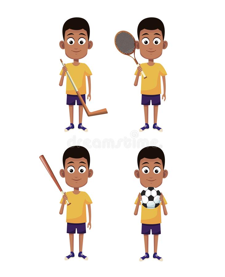 Boys and sports. Set of boys with sport equipments cartoons vector illustration graphic design royalty free illustration