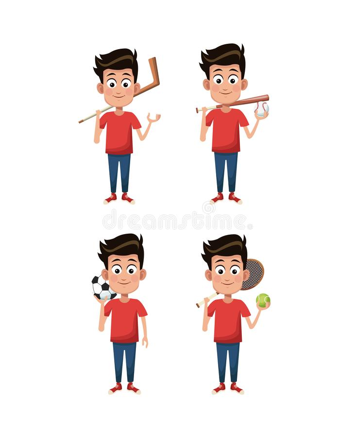 Boys and sports. Set of boys with sport equipments cartoons vector illustration graphic design vector illustration