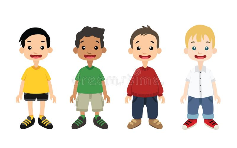 Boys Standing with Different Outfits Vector Illustration. Four boys standing wearing different outfits vector illustration. Full Body. On white background royalty free illustration