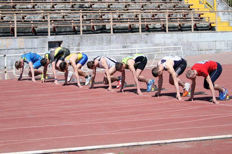 Download Boys On The Start Of The 100 Meters Race Editorial Image - Image: 24540810
