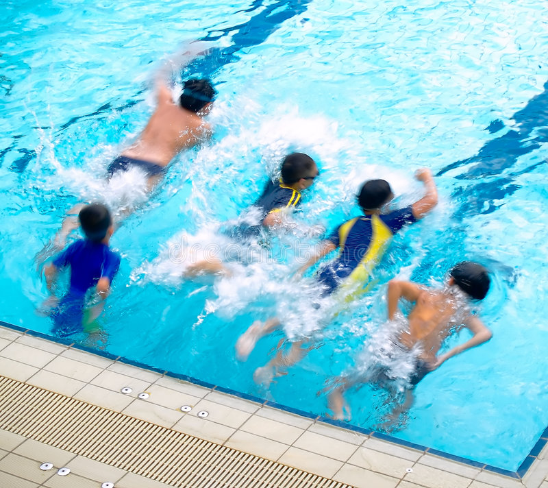 Boys In The Swimming Pool Stock Photo Image Of Surface