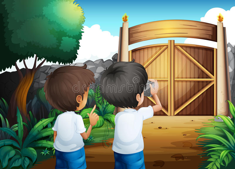 Boys taking pictures inside the gated yard. Illustration of the boys taking pictures inside the gated yard vector illustration