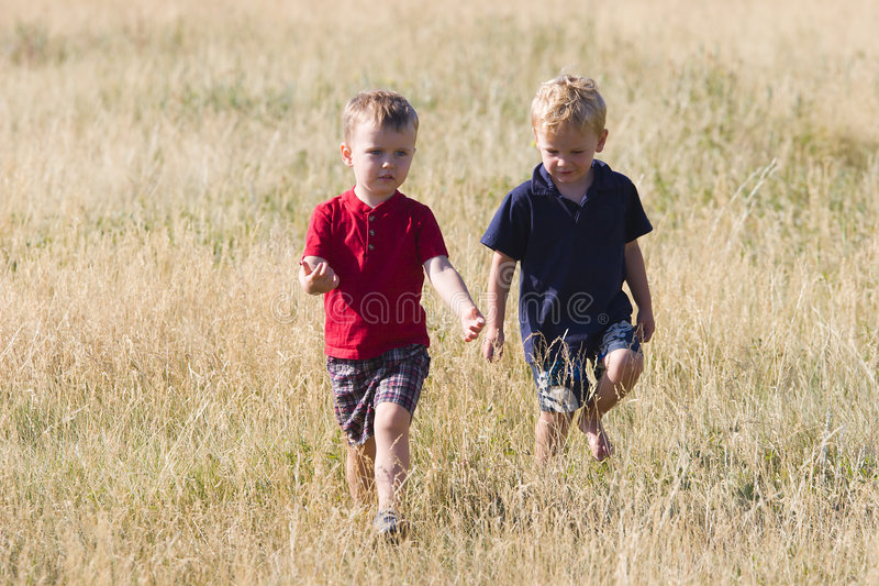 Boys talking. Two boys talking while walking in the long grass of a meadow