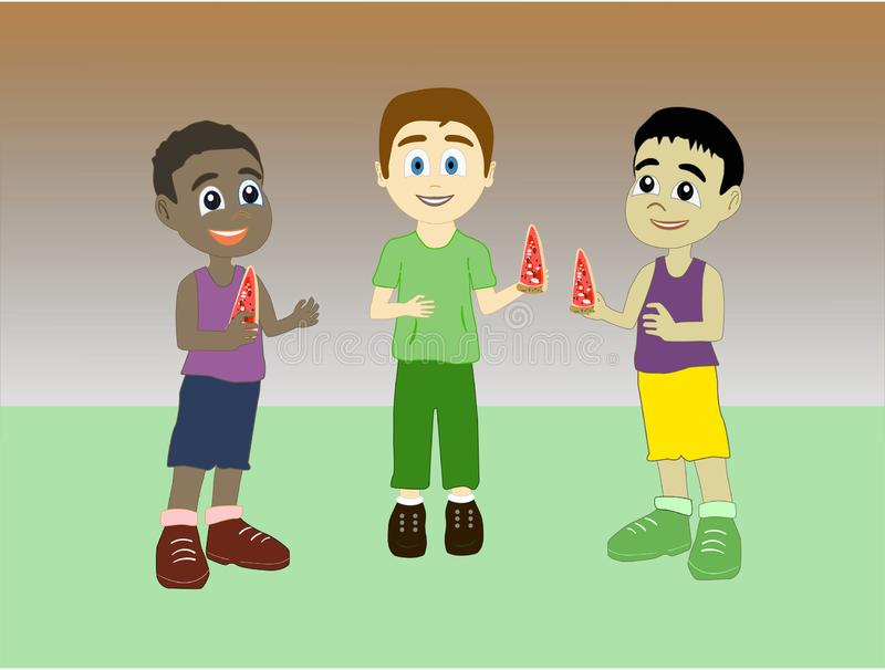 Boys of three races eating pizza together vector illustration