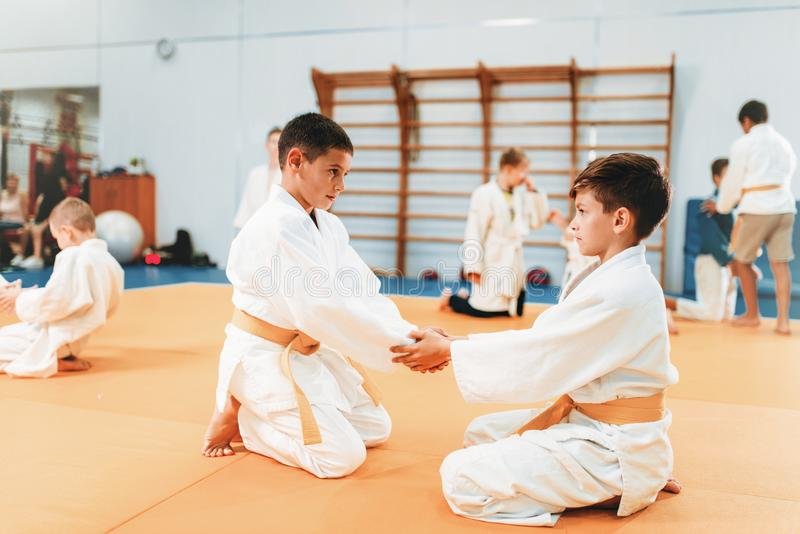 Boys in uniform practice martial art royalty free stock images
