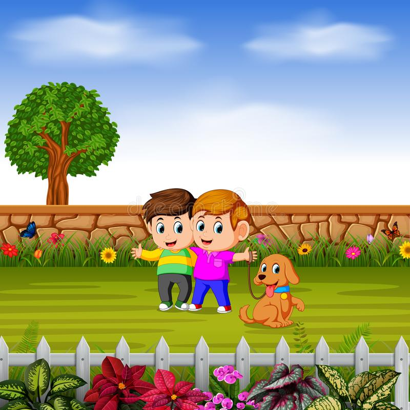 The boys walk with their dog in garden. Illustration of the boys walk with their dog in garden royalty free illustration