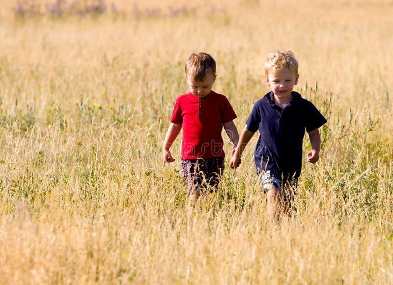 Boys walking. Two boys walking in the long grass of a meadow