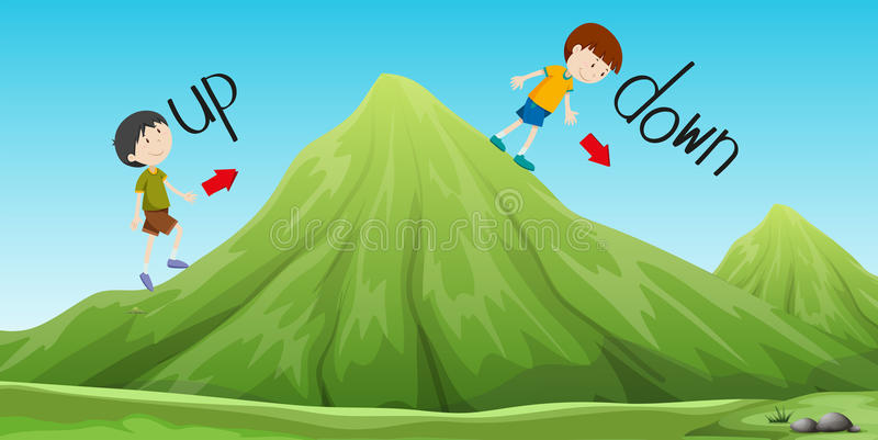 Boys walking up and down the hill royalty free illustration