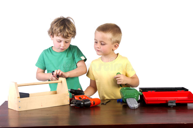Download Boys Working With Their Tools Stock Image - Image of white, child: 23196127