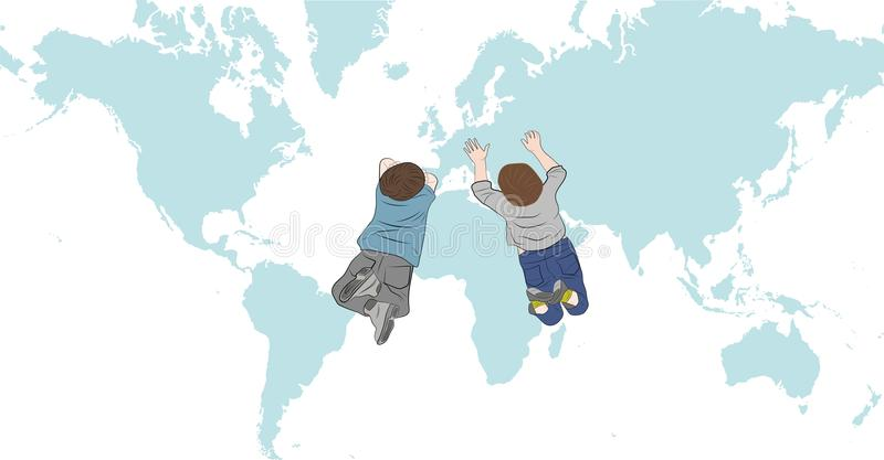 Child's Drawing Of Map Of The World Stock Illustration ...