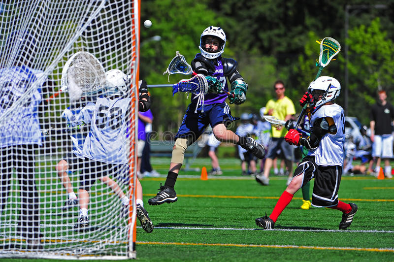 Boys Youth Lacrosse check stock photo