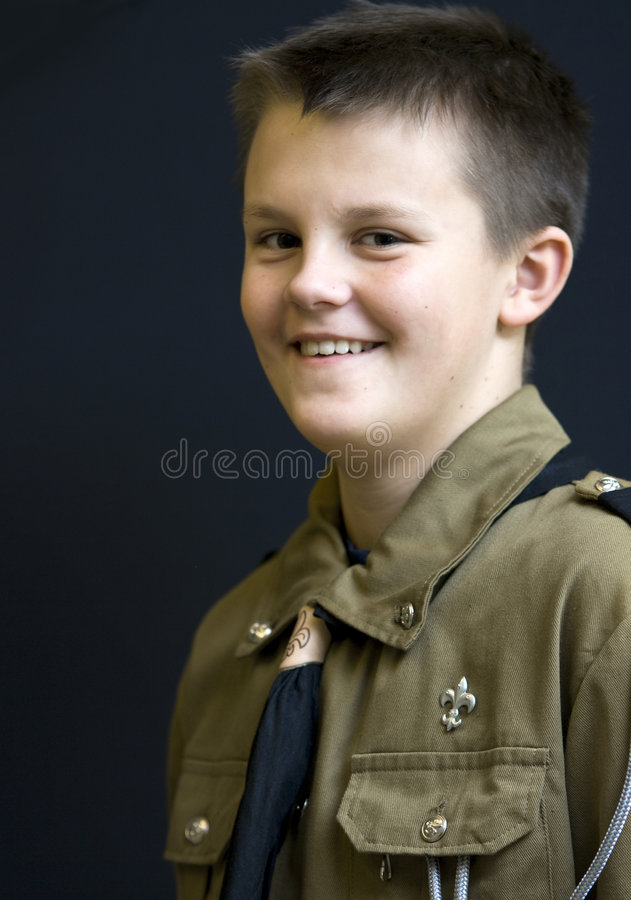 boyscout微笑少年 图库摄影