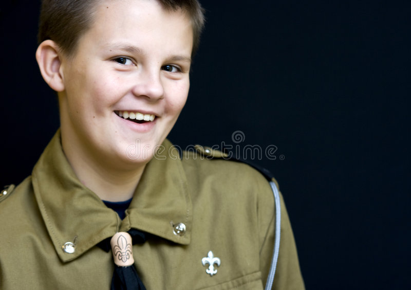 boyscout微笑少年 免版税图库摄影