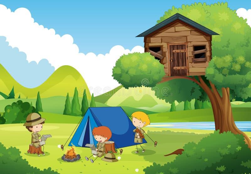 Boyscouts som campar i träna royaltyfri illustrationer
