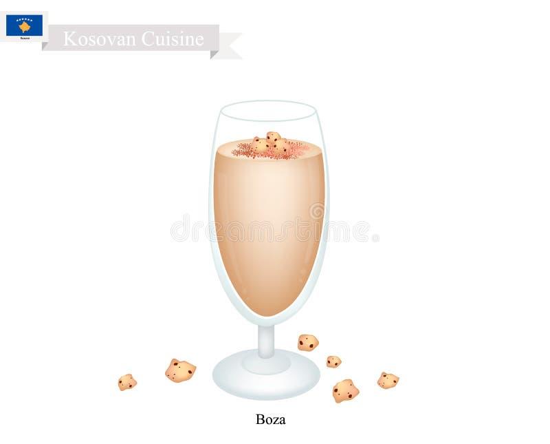 Boza, uma bebida tradicional de Kosovan com grão-de-bico Roasted ilustração do vetor