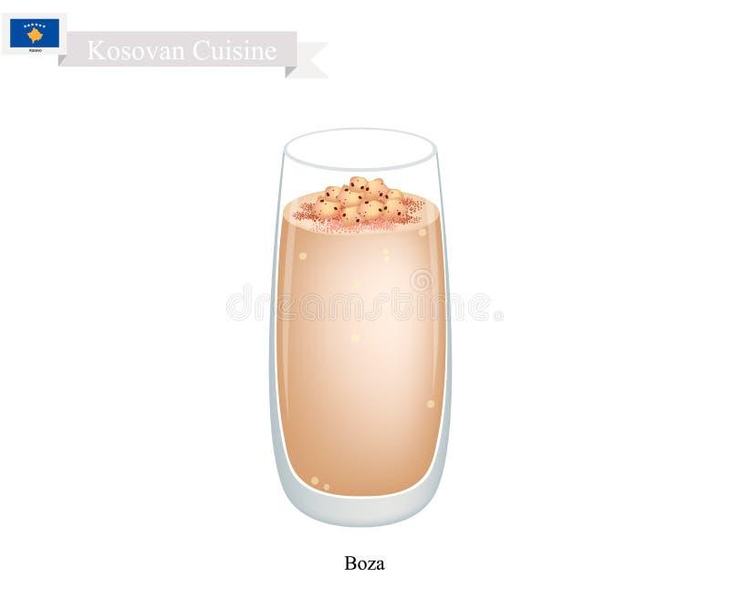 Boza, uma bebida tradicional de Kosovan com grão-de-bico Roasted ilustração stock
