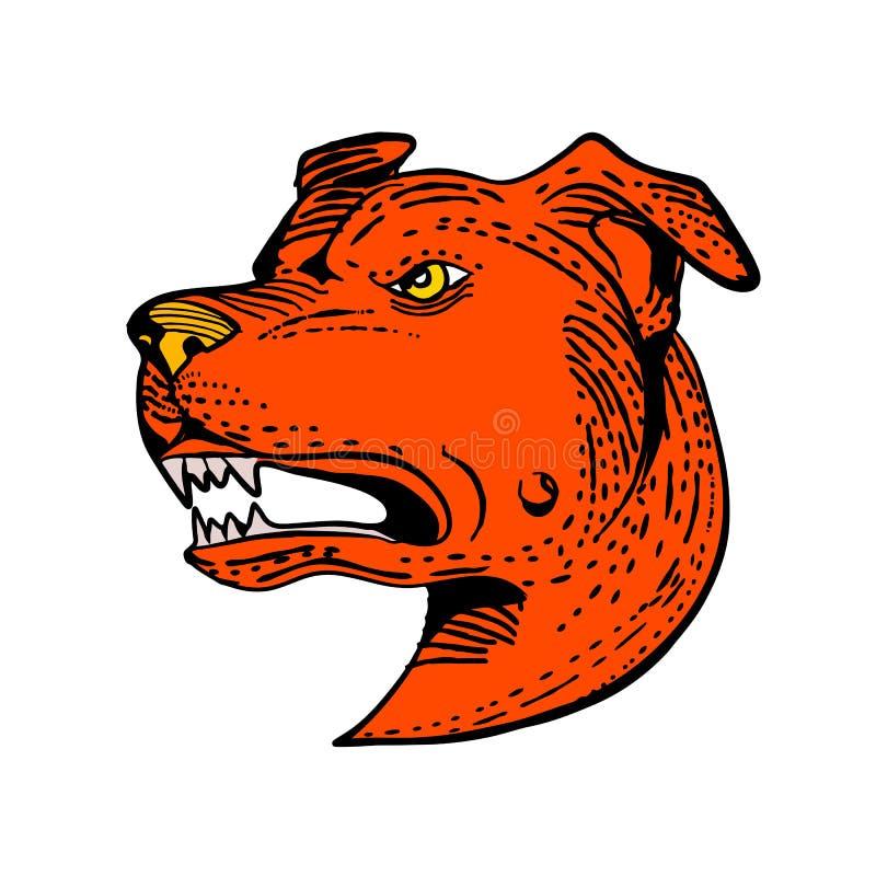 Boze Amerikaanse Staffordshire Bull terrier die Kleur etsen stock illustratie