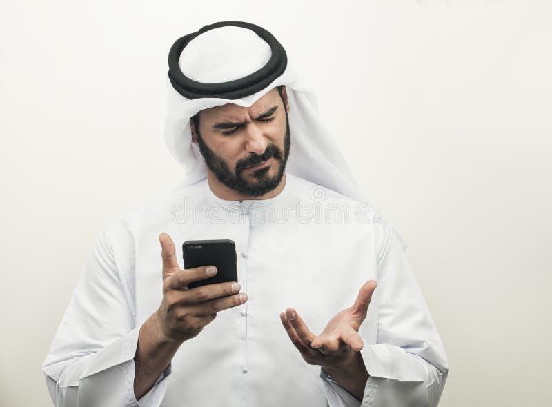 Boze Arabische Zakenman, Arabische Zakenman die woede uitdrukken royalty-vrije stock fotografie