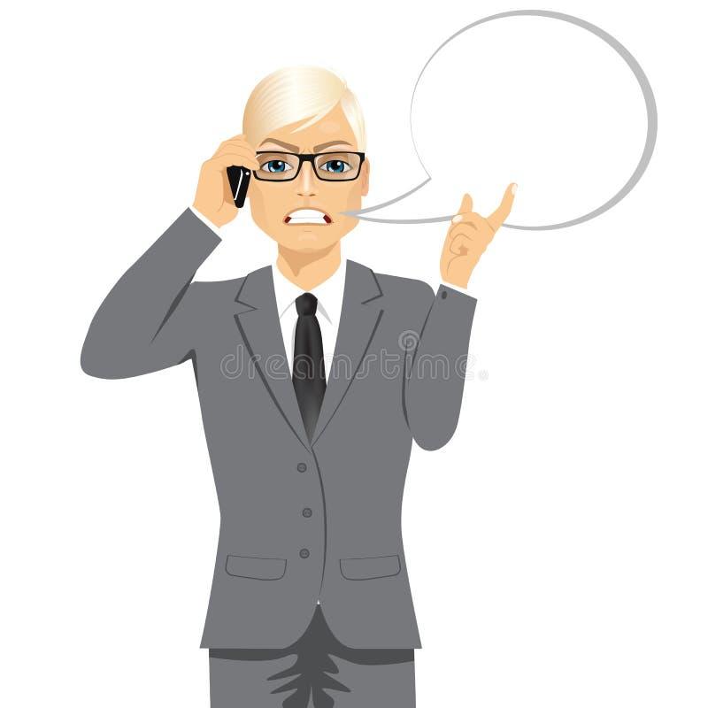 Boze blonde zakenman die gesprek hebben stock illustratie