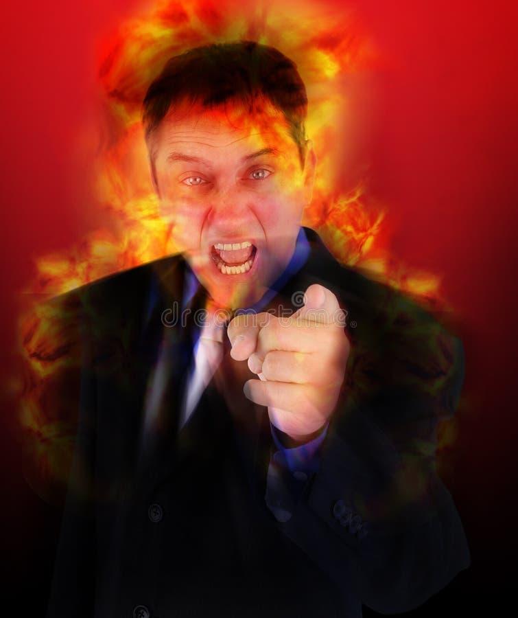 Boze In brand gestoken Werkgever die met Vlammen richt stock afbeeldingen