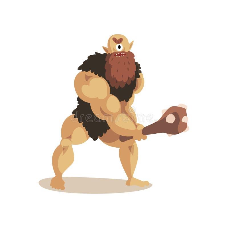 Boze Cyclops-holbewoner met een knuppel, de oude mythische vectorillustratie van het schepselbeeldverhaal op een witte achtergron stock illustratie